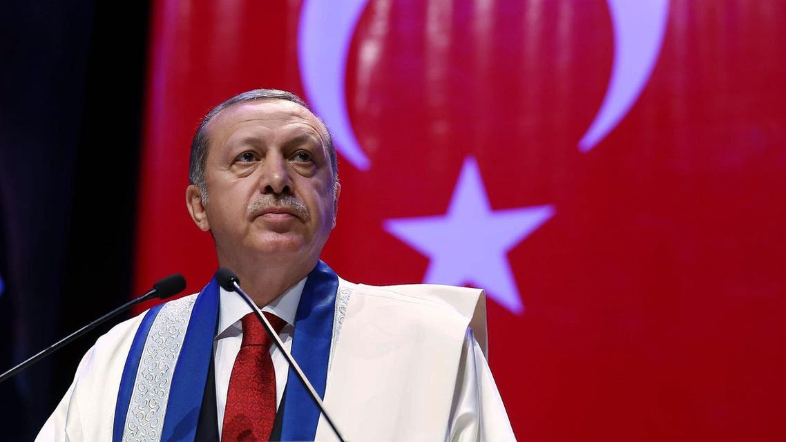 In this late Saturday, Oct. 24, 2015 photo made available Sunday,Turkish President Recep Tayyip Erdogan addresses after being presented with an honorary doctorate by private Kalyoncu University in Gaziantep, Turkey. (AP)