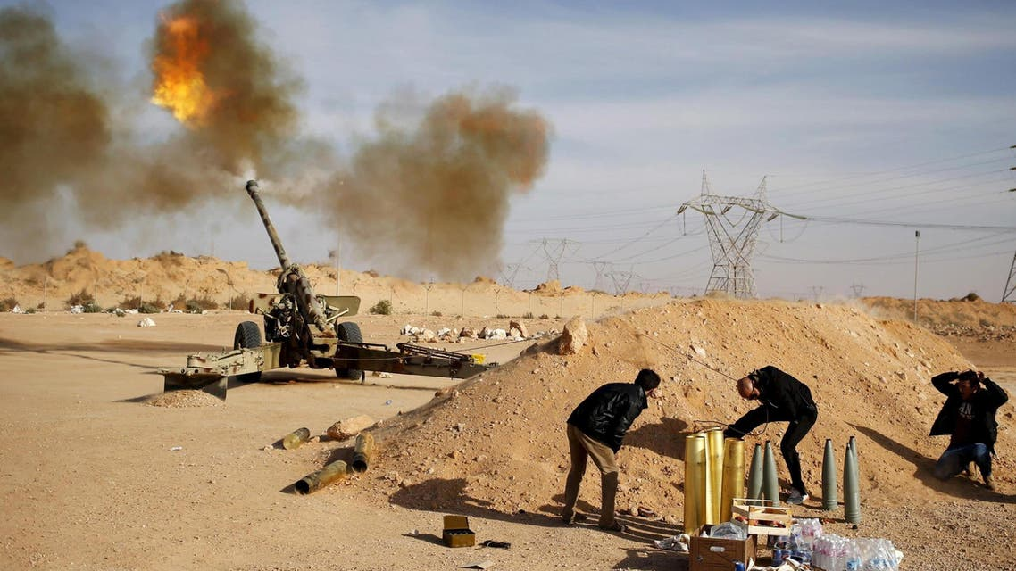 File photo of Libya Dawn fighters firing an artillery cannon at IS militants near Sirte March 19, 2015. (Reuters)