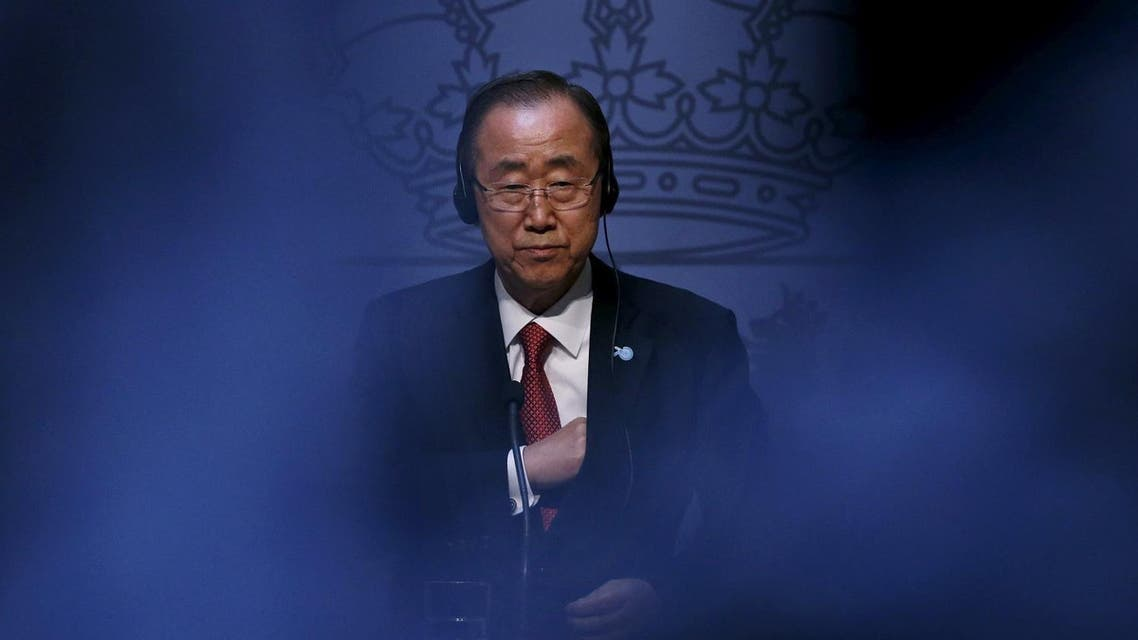United Nations Secretary-General Ban Ki-moon attends a joint news conference with Spanish Foreign Minister Garcia-Margallo at the Foreign Ministry in Madrid. (Reuters)
