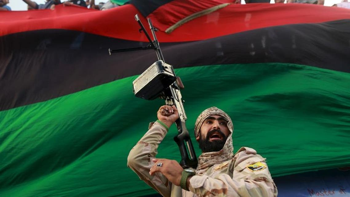 One of the members of the military protecting a demonstration against candidates for a national unity government proposed by U.N. envoy for Libya Bernardino Leon, is pictured in Benghazi, Libya October 23, 2015. (Reuters)