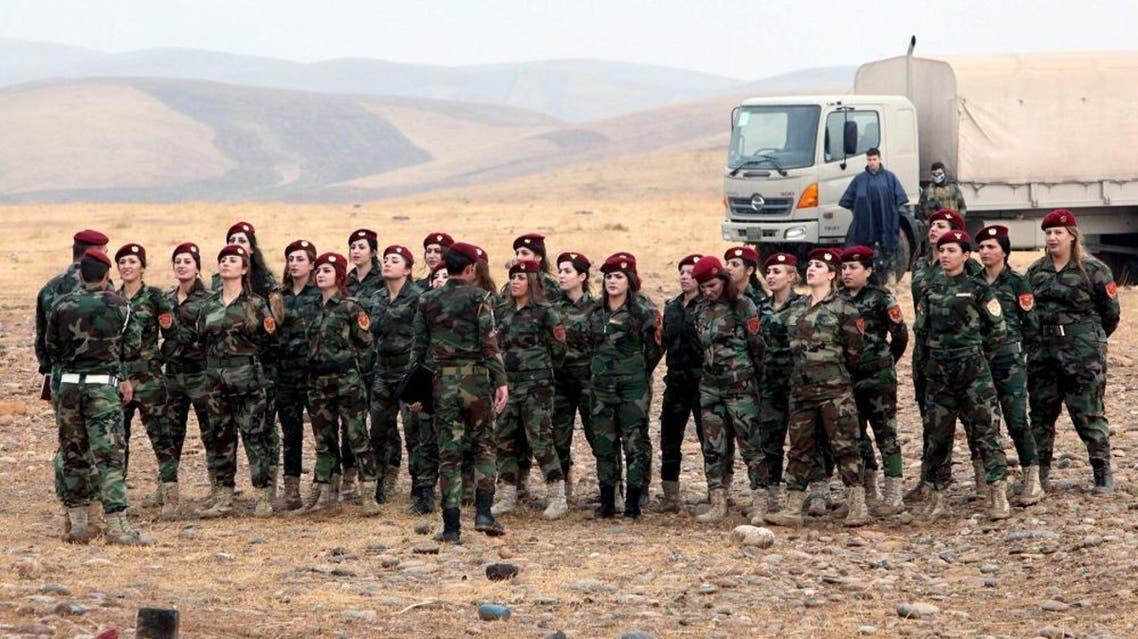 Female Kurdish Peshmerga take part in a training session during German Defence Minister Ursula von der Leyen's visit at a camp in Banslawa in Erbil, north of Baghdad. (File: Reuters)