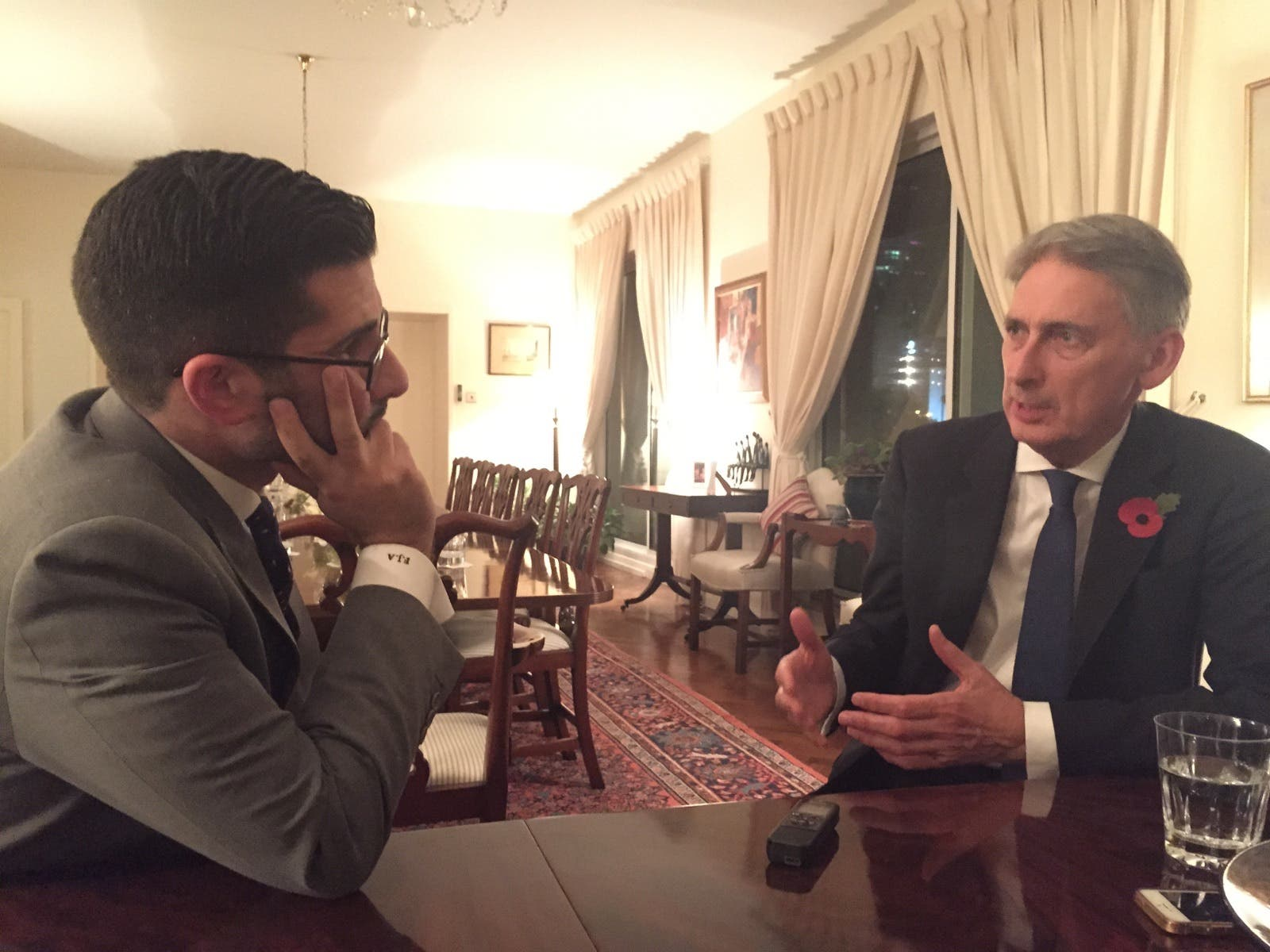 Al Arabiya News Editor-in-Chief Faisal J. Abbas interviews British Foreign Secretary Philip Hammond. (Ismaeel Naar/ Al Arabiya News)