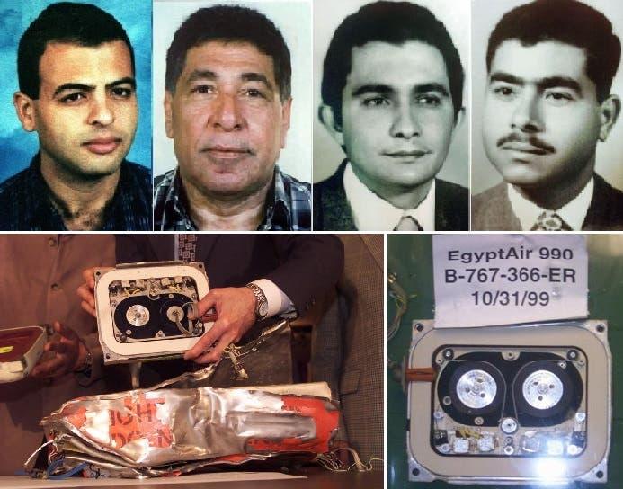 من اليمين، الطيارون أحمد الحبشي ورؤوف نور الدين وجميل البطوطي وعادل أنور، وصندوق الطائرة الأسود