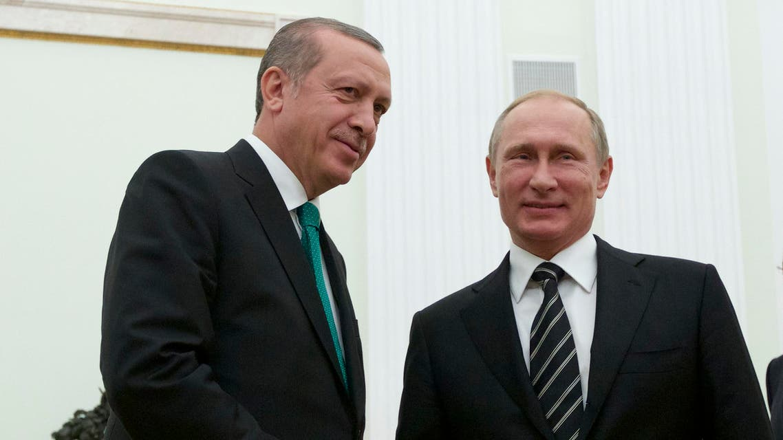 Russian President Vladimir Putin shakes hands with Turkey's President Recep Tayyip Erdogan, left, in Moscow's Kremlin, Russia, Wednesday, Sept. 23, 2015. AP