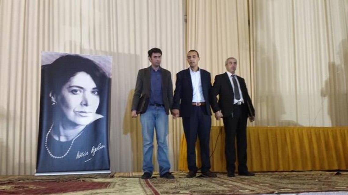 صورة المتوجين الثلاث بجائزة اسيا جبار للرواية