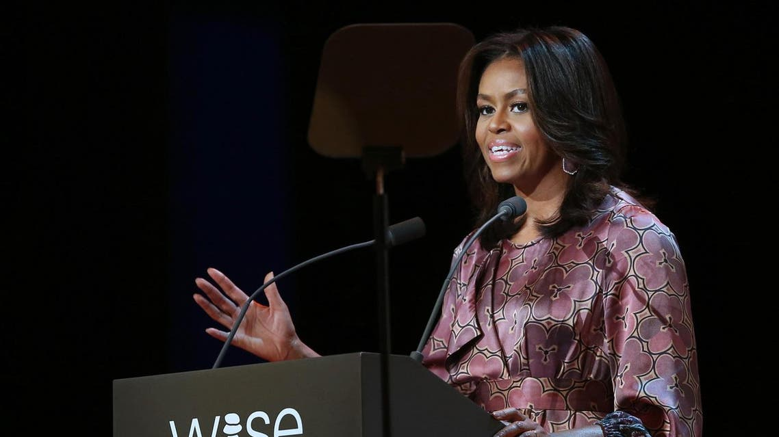 First Lady Michelle Obama speaks at the 2015 World Innovation Summit for Education (WISE) held at the convention center in Doha, Qatar. (AP)