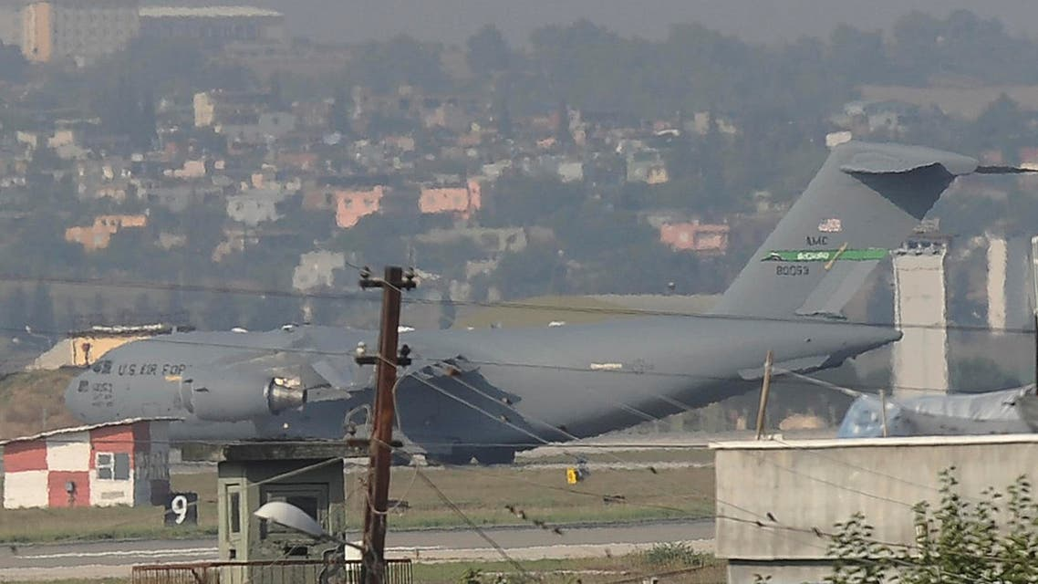 "A United States Air Force cargo plane maneuvers on the runway after it landed at the Incirlik Air Base, in Adana, southern Turkey, Sunday, Aug. 9, 2015. The U.S. European Command said in a statement Sunday that the U.S. Air Force deployed a ""small detachment"" of six F-16 fighter jets, support equipment and about 300 personnel at Incirlik Air Base. Turkey last month carried out airstrikes against Islamic State targets and had agreed to allow the U.S. to use the strategically located base in the coalition against the Islamic State group in Syria. (AP Photo)"