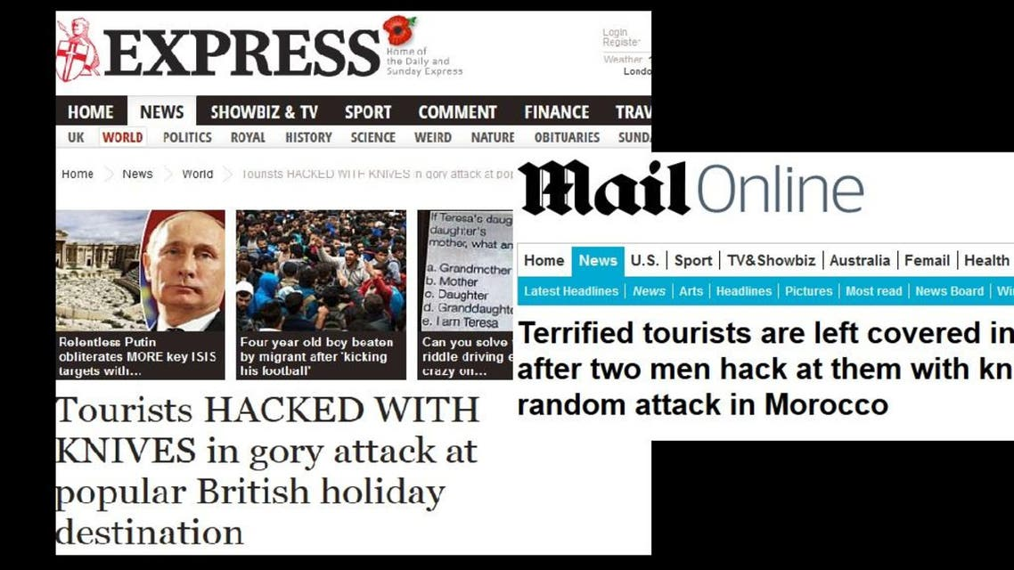 """UK daily the Express ran the headline """"Tourists HACKED WITH KNIVES in gory attack at popular British holiday destination."""" (Screenshot via Express and Daily Mail)"""