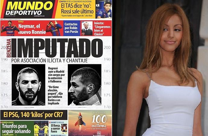 متهمة بنزيما في 2010 بممارسة الجنس لقاء المال، وكلمة متهم تكررت بارزة في صحف اسبانيا حاليا