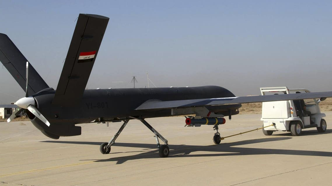 [Window Title] Enter name of file to save to…  [Content] The first drone to be used by the Iraqi Air Force, loaded with ordnance, prepares to take-off to raid Islamic State group positions at an airbase in Kut, 100 miles (160 kilometers) southeast of Baghdad, Iraq, Saturday, Oct 10, 2015. (AP) The file name is not valid.  [OK]