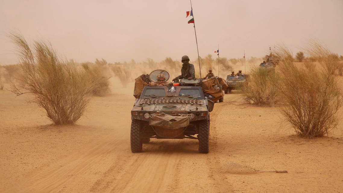 In this photo taken June 24, 2015, French forces patrol in the desert of Northern Mali along the border with Niger on the outskirts of Asongo, Northern Mali. French forces help to disarm groups in northern Mali after a peace deal reached. (AP)
