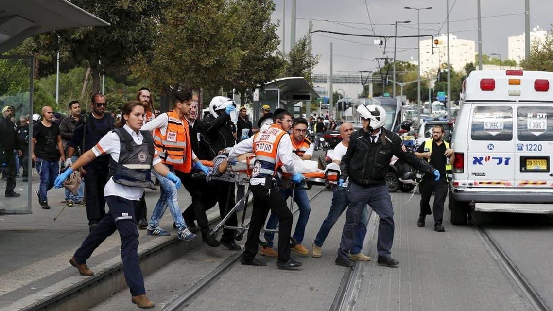 Medics evacuate an Israeli man injured during a stabbing attack in Jerusalem. (File: Reuters)