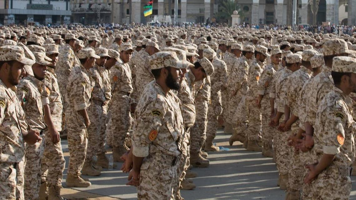 In this Thursday, Aug. 13, 2015 photo, military units which operate under the Tripoli government stand in formation during a celebration of the 75th anniversary of the establishment of the Libyan Army in Martyrs Square. (File photo: AP)