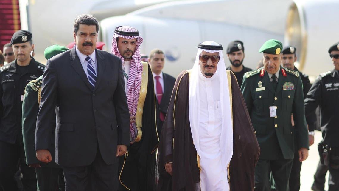 Saudi King Salman bin Abdulaziz welcomes Venezuela's President Nicolas Maduro after his arrival. (Reuters)