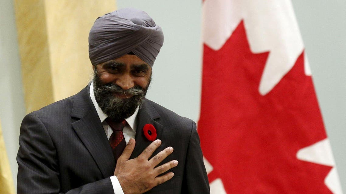 Canada's new National Defence Minister Harjit Sajjan gestures after being sworn-in during a ceremony at Rideau Hall in Ottawa. (File photo: Reuters)