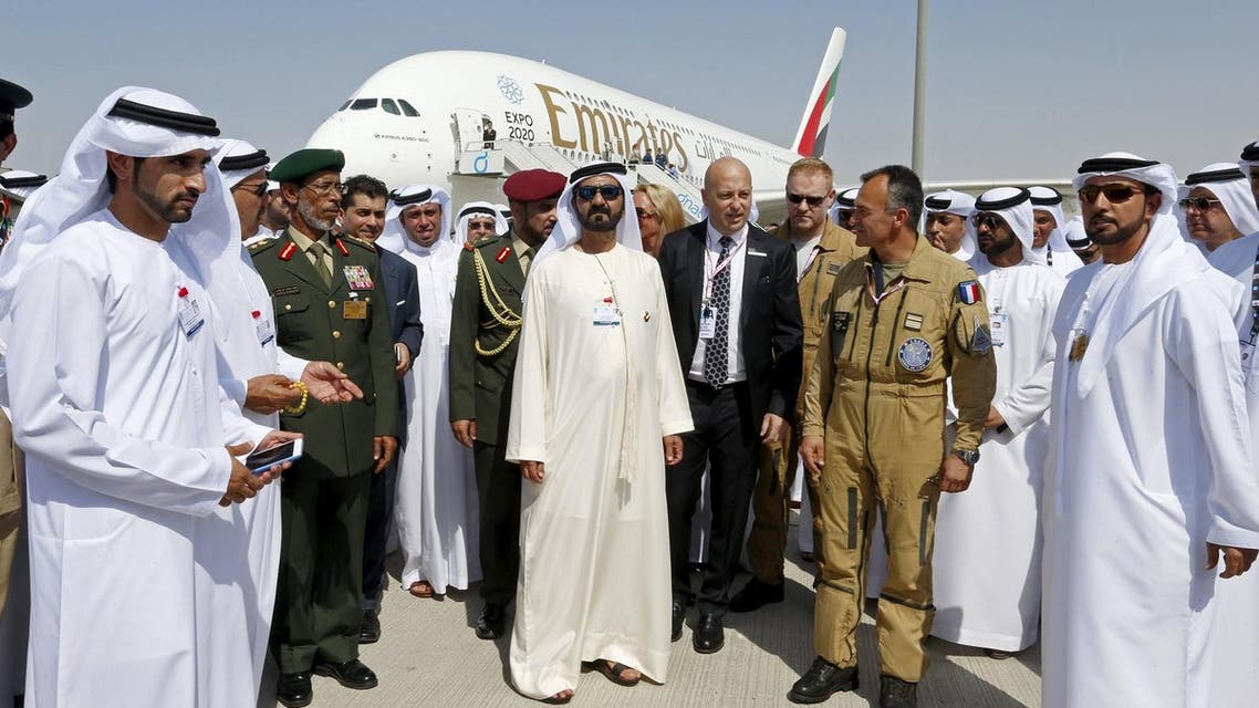 United Arab Emirates Vice President,Prime Minister and Dubai Ruler Sheikh Mohammed bin Rashid al-Maktoum tours during Dubai Airshow. (Reuters)