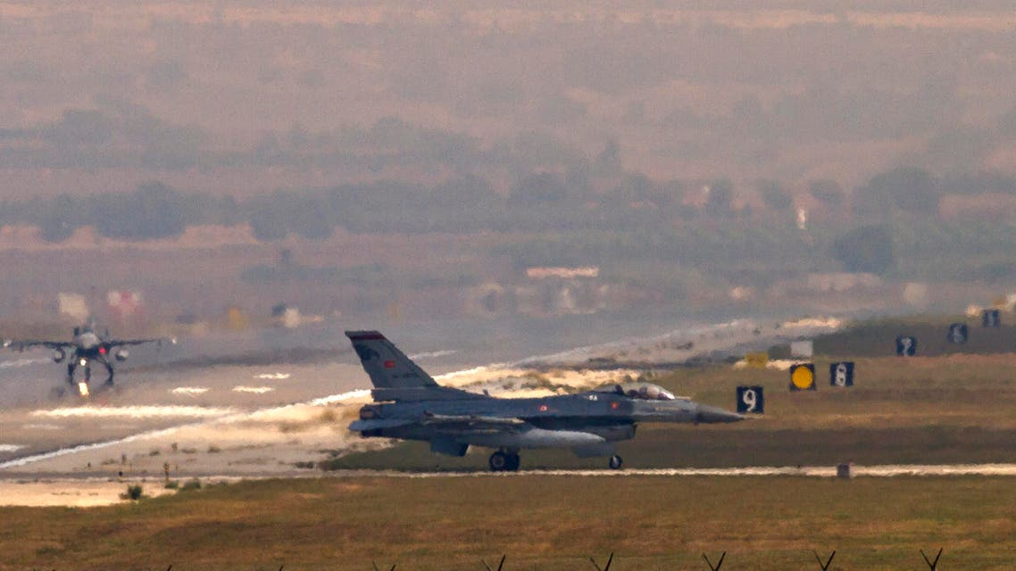 Turkish Air Force F16 fighter jets taxi on the runway at the Incirlik Air Base, Turkey, Friday, Aug. 30, 2013. U.N. Secretary-General Ban Ki-moon said the Inspection team in Syria is expected to complete its work Friday and report to him Saturday. (AP Photo/Vadim Ghirda)