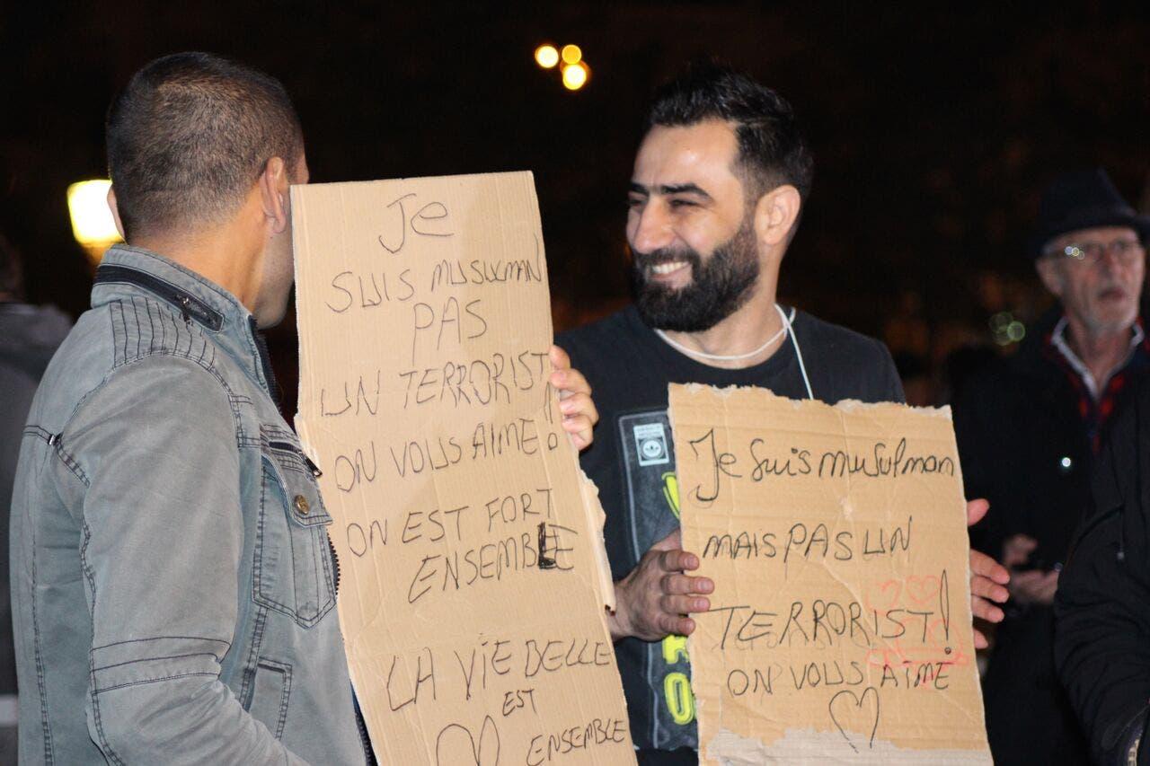 People gather at the Place de la Republique. (Asma Ajroudi/ Al Arabiya News)