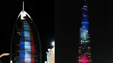 دبي تضيء أعلى برج في العالم بألوان العلم الفرنسي
