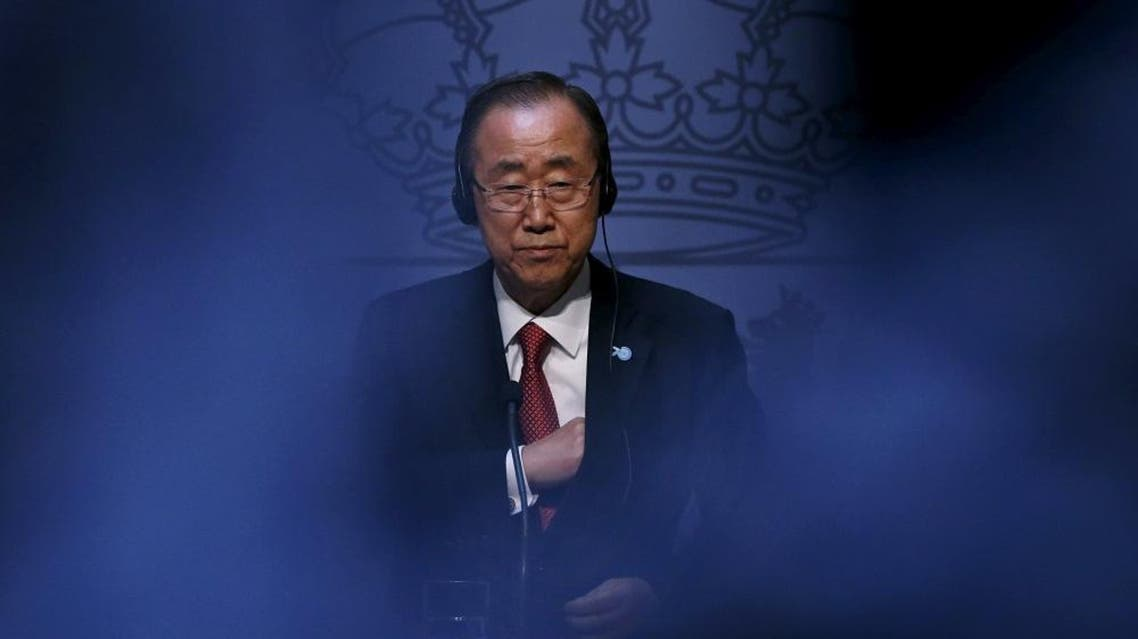 United Nations Secretary-General Ban Ki-moon attends a joint news conference with Spanish Foreign Minister Jose Manuel Garcia-Margallo (not pictured) at the Foreign Ministry in Madrid, Spain, October 29, 2015. REUTERS/Juan Medina