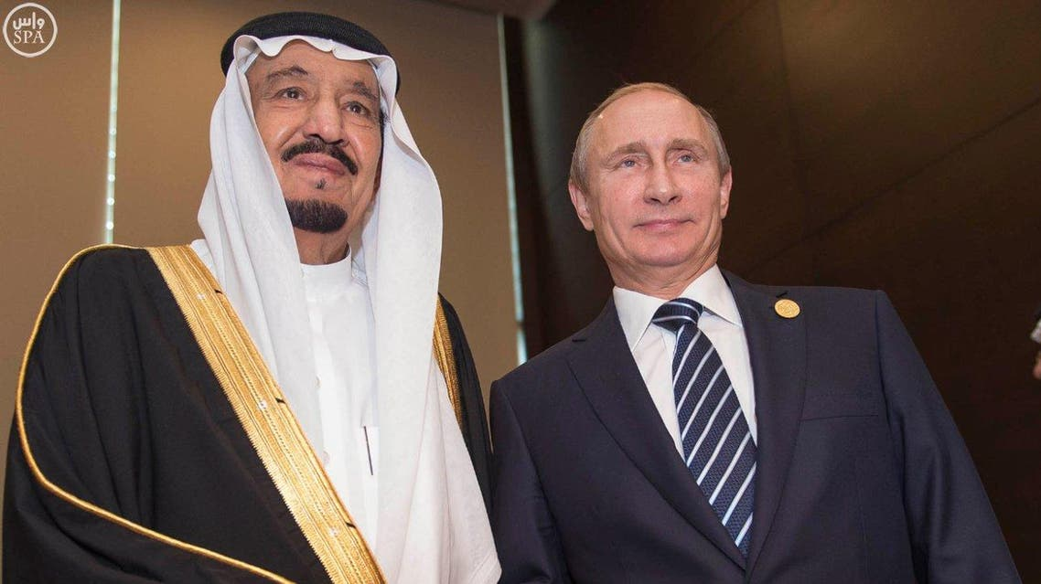 King Salman poses for a picture with Russian President Vladimir Putin. (Photo courtesy: SPA)