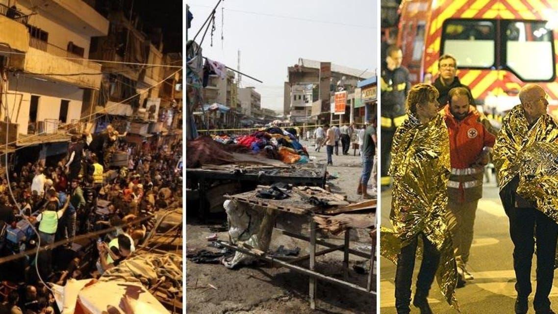 (L-R): ISIS attacks this week in Beirut, Baghdad and Paris (Reuters/AFP/AP)
