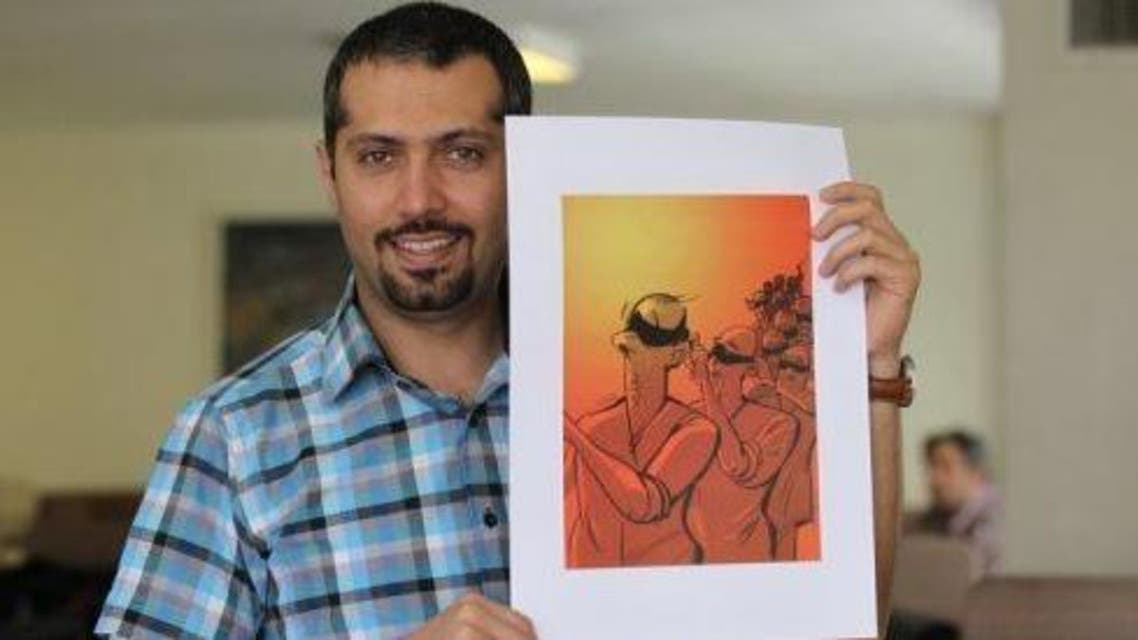 """AFP/Atta Kenare - Hadi Heidari shows his drawing """"Blindfolded"""" in Tehran on Friday. Press cartoonists say they are dodging """"moving red lines"""" in the run-up to a June 14 presidential election in Iran, a country where a satirical image can get a newspaper banned or an editor jailed  less"""