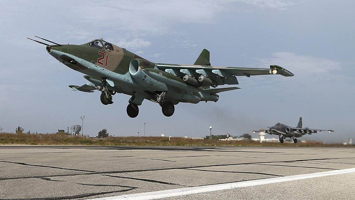 Russia's Defence Ministry handout photo shows Sukhoi Su-25 fighter jets taking off from Hmeymim air base near Latakia, Syria. (Reuters)