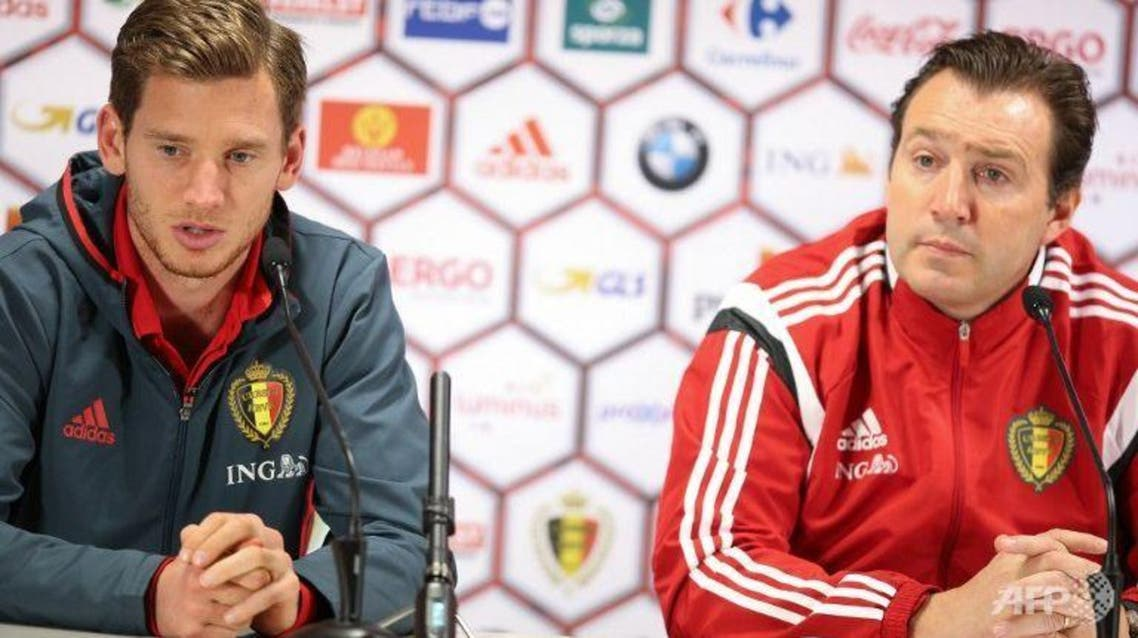 Belgium's national football team player Jan Vertonghen (left) and head coach Marc Wilmots attend a press conference on Nov 16, 2015 in Brussels. (AFP)