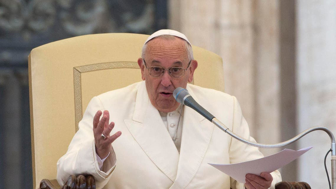 Pope Francis delivers his speech during the weekly general audience he held in St. Peter's Square, at the Vatican, Wednesday, Nov. 18, 2015. (AP Photo/Andrew Medichini)
