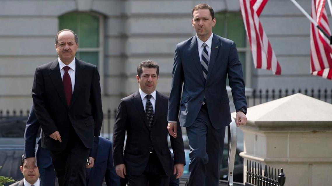 Iraqi Kurdistan Regional President Masoud Barzani, left, walks to West Wing of the White House in Washington, where he is scheduled to meet with Vice President Joe Biden | AP