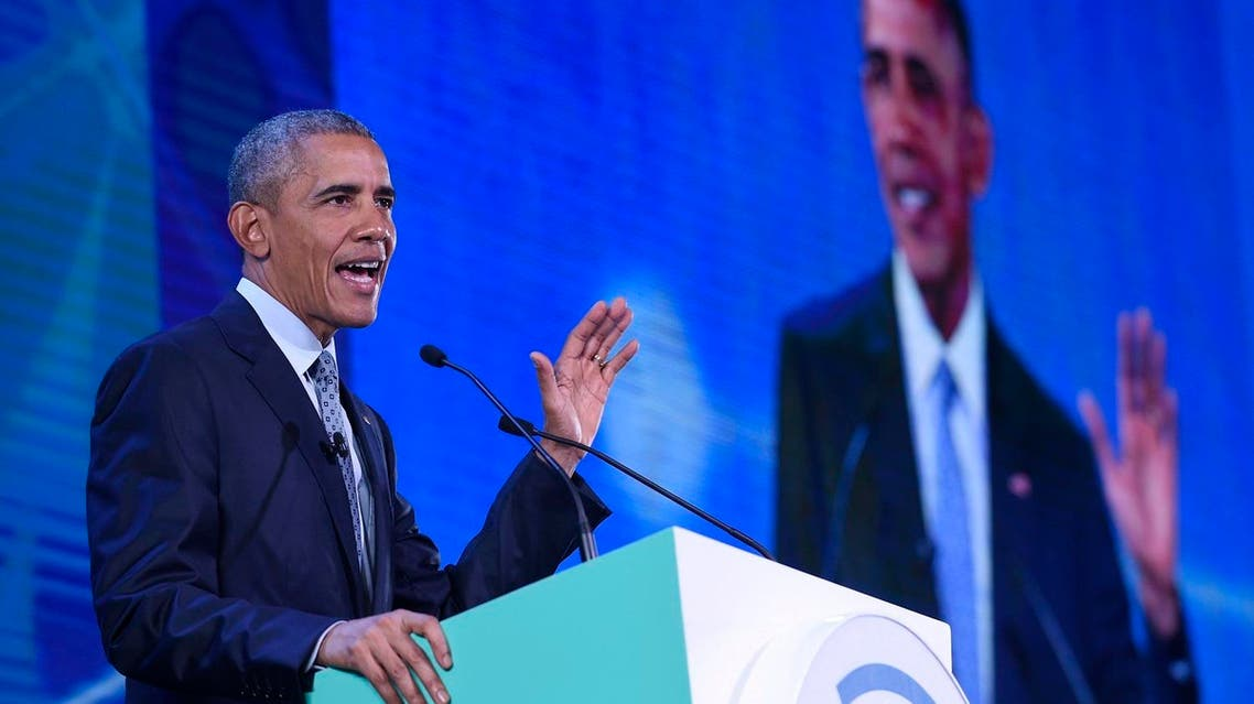 President Barack Obama speaks at the CEO Summit, attended by 800 business leaders from around the region representing U.S. and Asia-Pacific. (AP)