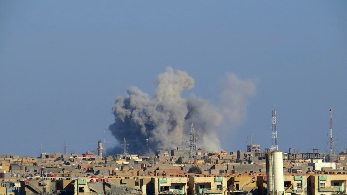 Smoke rises from Islamic State positions following a U.S.-led coalition airstrike AP