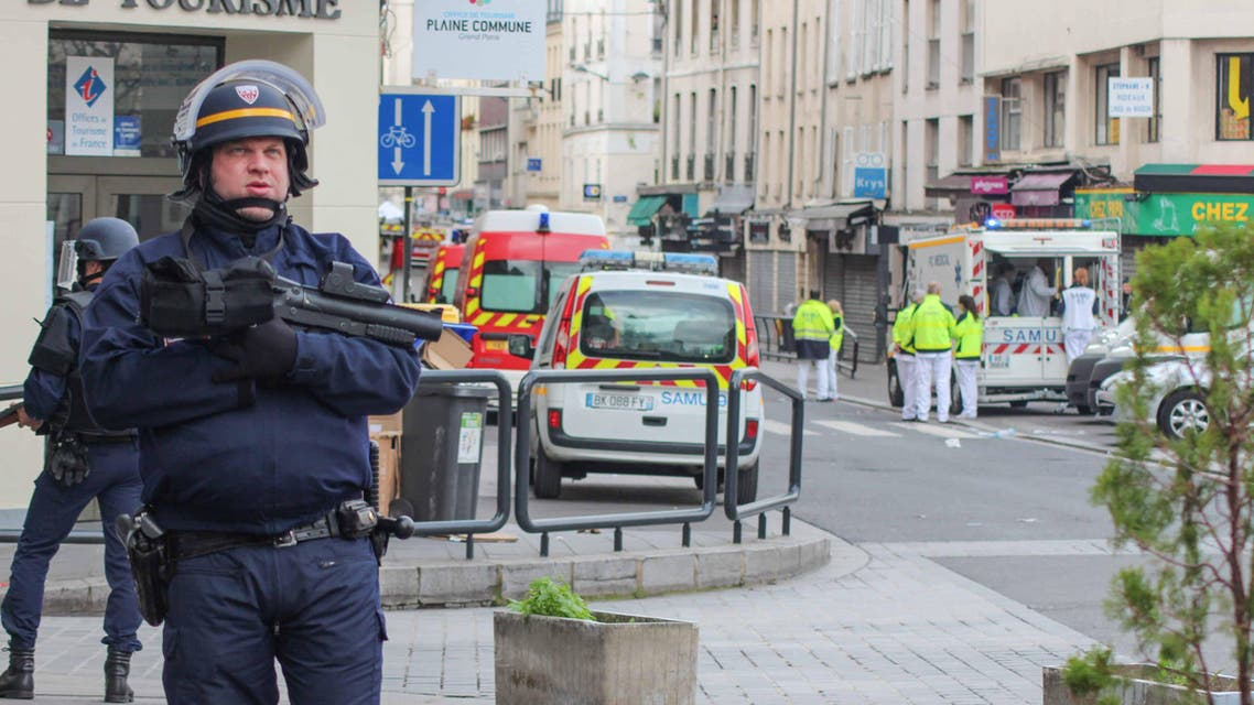A French security forces officer stands by near the site of the dawn raid (Asma Ajroudi / Al Arabiya News)