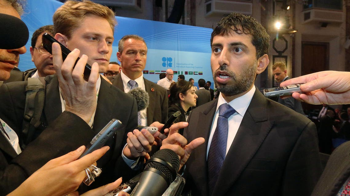 Suhail Mohamed Al Mazrouei, Minister of Energy of the United Arab Emirates, UAE, speaks to journalists during a seminar of the Organization of the Petroleum Exporting Countries, OPEC. AP