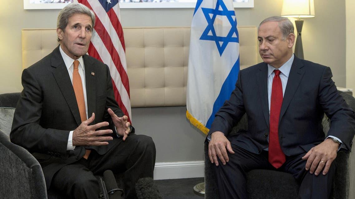 Secretary of State John Kerry meets with Israeli Prime Minister Benjamin Netanyahu in New York, Friday, Oct. 2, 2015.