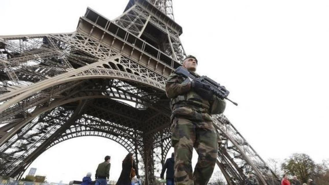 French military patrol near the Eiffel Tower the day after a series of deadly attacks in Paris , November 14, 2015. Read more at Reutershttp://www.reuters.com/article/2015/11/22/us-france-shooting-opportunities-insight-idUSKBN0TB09R20151122#Lr78RFK8TRIx1Qpk.99