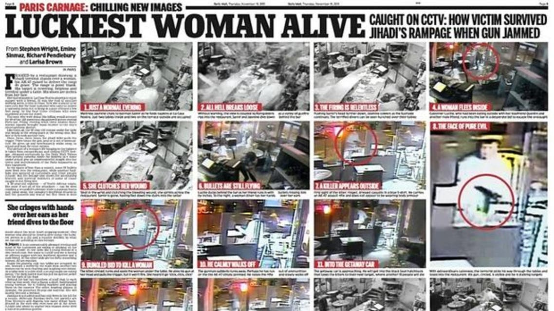 The Daily Mail report on the Paris cafe attack. (Photo courtesy: Screengrab)