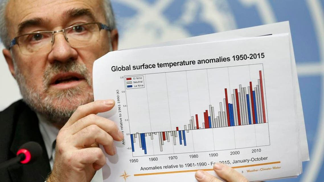 ichel Jarraud, Secretary-General of the World Meteorological Organization (WMO) holds a graphic during the presentation of the five-year report on the climate from 2011-2015 at the United Nations European headquarters in Geneva, Switzerland, November 25, 2015. (Reuters)
