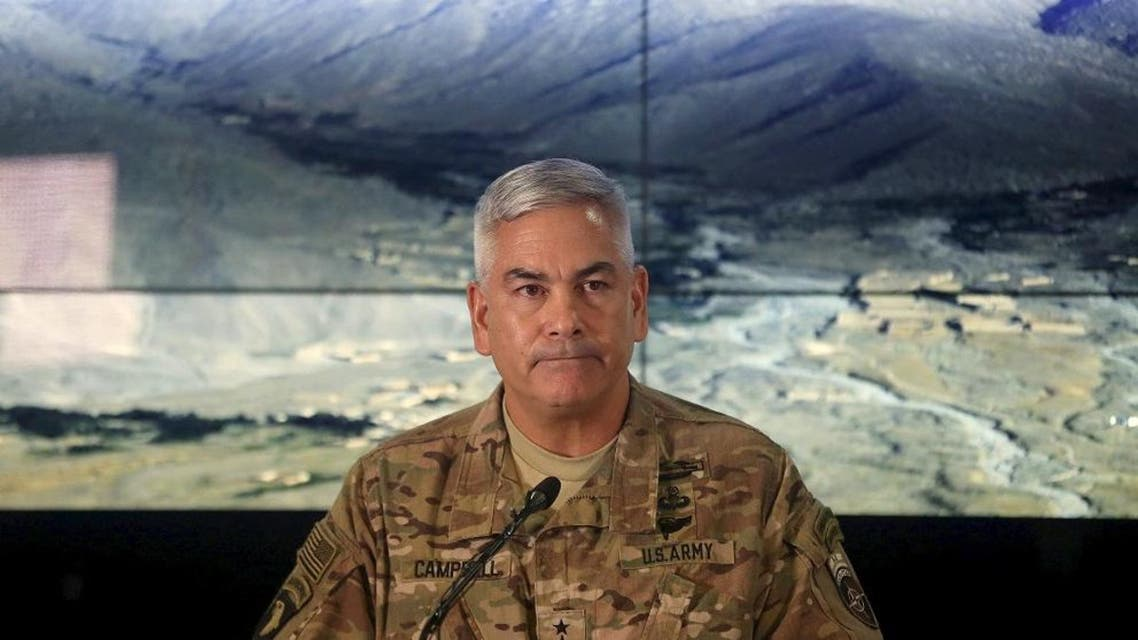 U.S. Army General John Campbell, the commander of international and U.S. forces in Afghanistan, speaks during a news conference at Resolute Support headquarters in Kabul, Afghanistan, November 25, 2015. (Reuters)