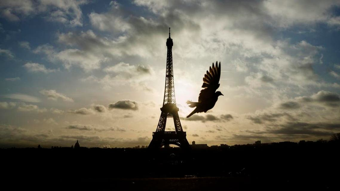 A bird flies in front of the Eiffel Tower ,which remained closed on the first of three days of national mourning, in Paris, Sunday, Nov. 15, 2015. | AP