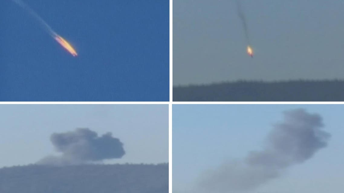 Combination frame grabs shows a war plane crashing in flames in a mountainous area in northern Syria after it was shot down by Turkish fighter jets near the Turkish-Syrian border. (Reuters)