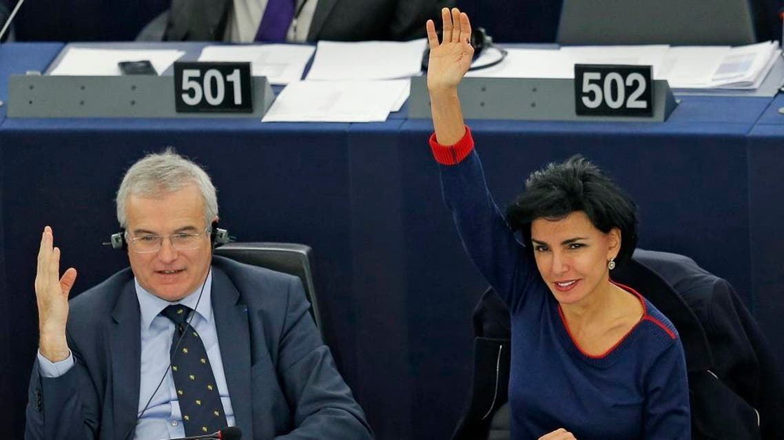 France's Member of the European Parliament Rachida Dati (R) takes part, besides fellow MEP Michel Dantin, in a voting session on her report about the prevention of radicalisation and recruitment of European citizens by terrorist organisations, at the European Parliament in Strasbourg, France, November 25, 2015 | Reuters