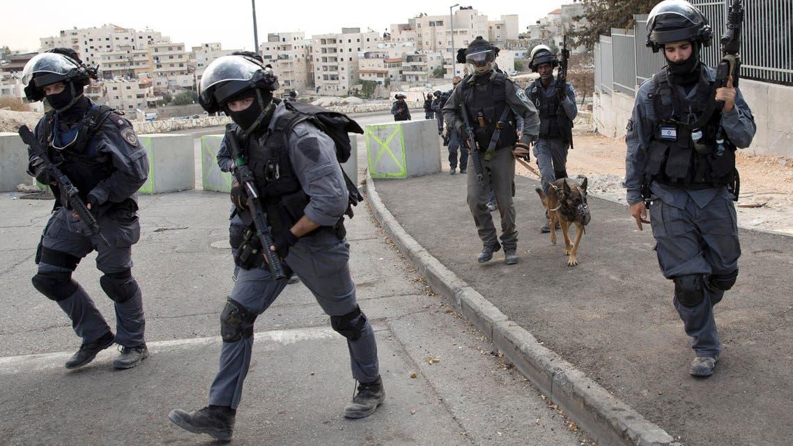 Israeli riot police officers  AP