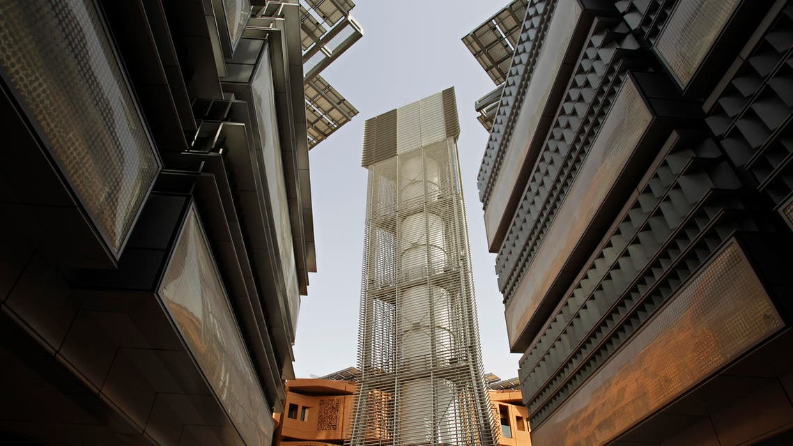 In this Jan. 16, 2011 fuile photo, the 45 meter height Wind Tower brings upper level wind to the public square at the Masdar Institute campus as a part of Masdar City in Abu Dhabi, United Arab Emirates.  (AP)