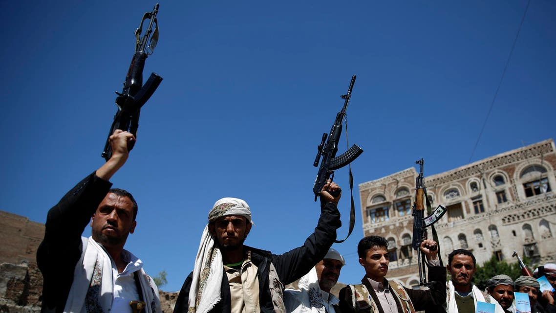 Shiite fighters, known as Houthis, hold up their weapons during a tribal gathering showing support to the Houthi movement in Sanaa, Yemen, Thursday, Oct. 22, 2015. (AP Photo/Hani Mohammed)