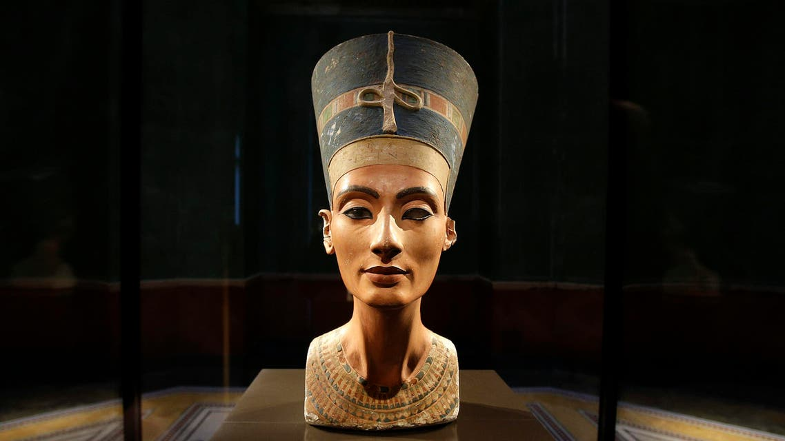 The Nefertiti bust is pictured during a press preview of the exhibition 'In The Light Of Amarna' at the Neues Museum (New Museum) in Berlin, Germany, Wednesday, Dec. 5, 2012. (AP)