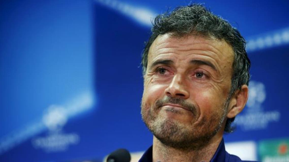 Barcelona's coach Luis Enrique attends a news conference a day ahead of their Champions League soccer match against AS Roma, at the Joan Gamper training grounds outside Barcelona, Spain, November 23, 2015.