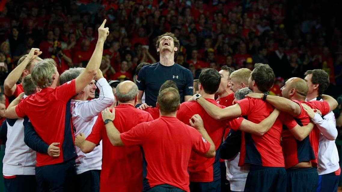 Tennis - Belgium v Great Britain - Davis Cup Final - Flanders Expo, Ghent, Belgium - 29/11/15 Men's Singles - Great Britain's Andy Murray celebrates with team mates after beating Belgium's David Goffin to win the Davis Cup Action Images via Reuters / Jason Cairnduff Livepic