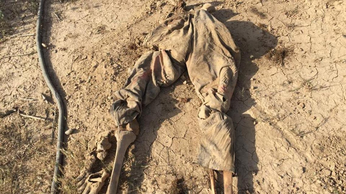 In this Tuesday, April 7, 2015 photo, human remains are seen in a mass grave, believed to contain the bodies of Iraqi soldiers killed by Islamic State group militants when they overran Camp Speicher military base last June, in Tikrit, Iraq | AP